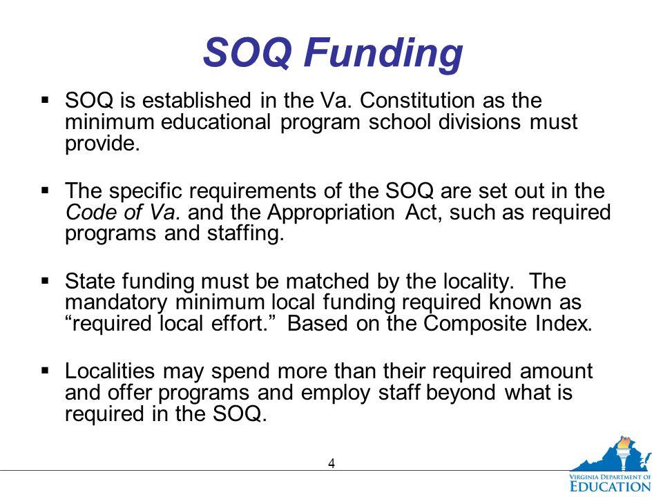 SOQ Funding  SOQ is established in the Va.