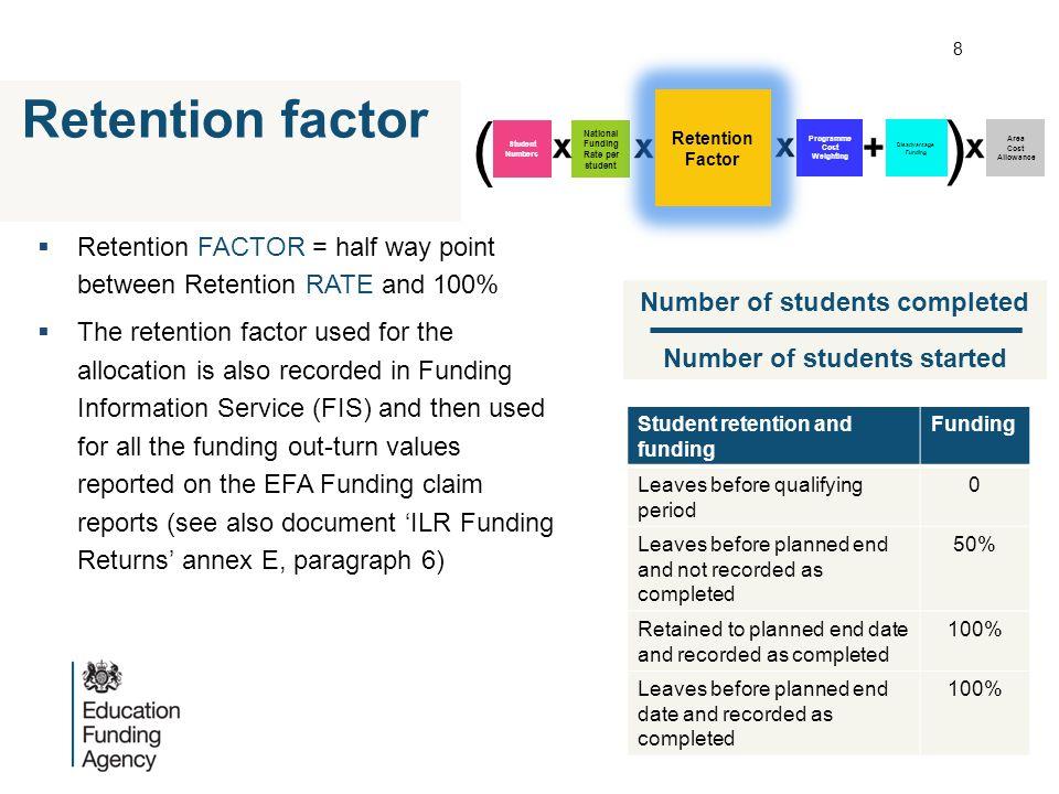  Retention FACTOR = half way point between Retention RATE and 100%  The retention factor used for the allocation is also recorded in Funding Informa