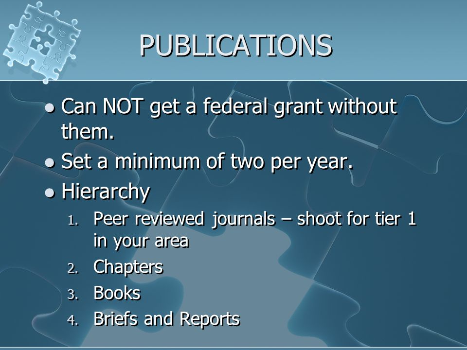 PUBLICATIONS Can NOT get a federal grant without them.