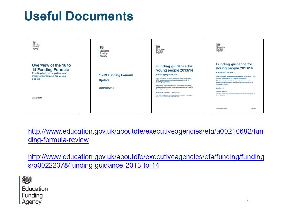Useful Documents http://www.education.gov.uk/aboutdfe/executiveagencies/efa/a00210682/fun ding-formula-review http://www.education.gov.uk/aboutdfe/executiveagencies/efa/funding/funding s/a00222378/funding-guidance-2013-to-14 3