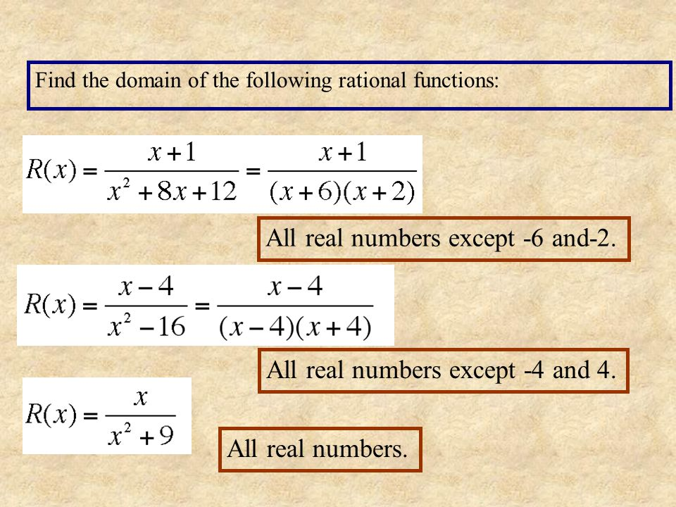 A rational function is a function of the form Where p and q are polynomial functions and q is not the zero polynomial. The domain consists of all real