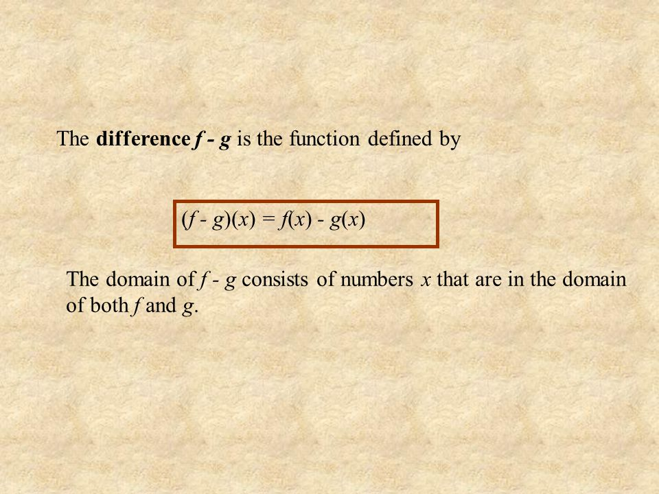 The sum f + g is the function defined by (f + g)(x) = f(x) + g(x) The domain of f+g consists of numbers x that are in the domain of both f and g.