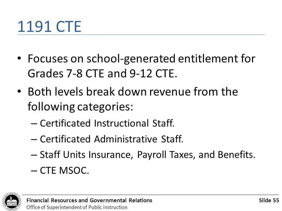 Slide 55Financial Resources and Governmental Relations Office of Superintendent of Public Instruction 1191 CTE Focuses on school-generated entitlement for Grades 7-8 CTE and 9-12 CTE.