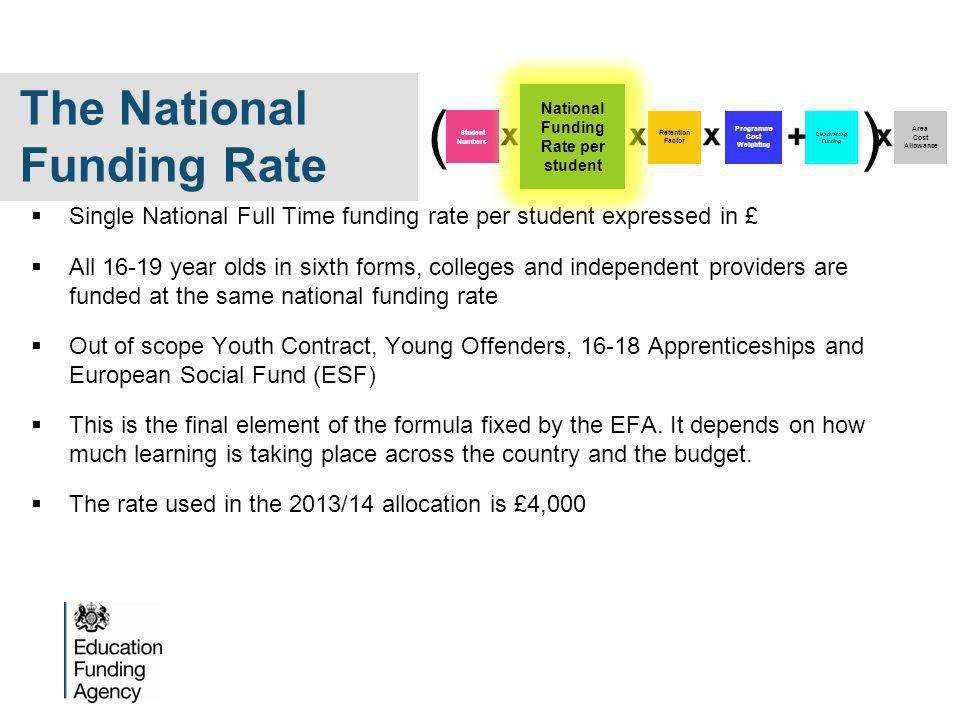  Single National Full Time funding rate per student expressed in £  All year olds in sixth forms, colleges and independent providers are funded at the same national funding rate  Out of scope Youth Contract, Young Offenders, Apprenticeships and European Social Fund (ESF)  This is the final element of the formula fixed by the EFA.