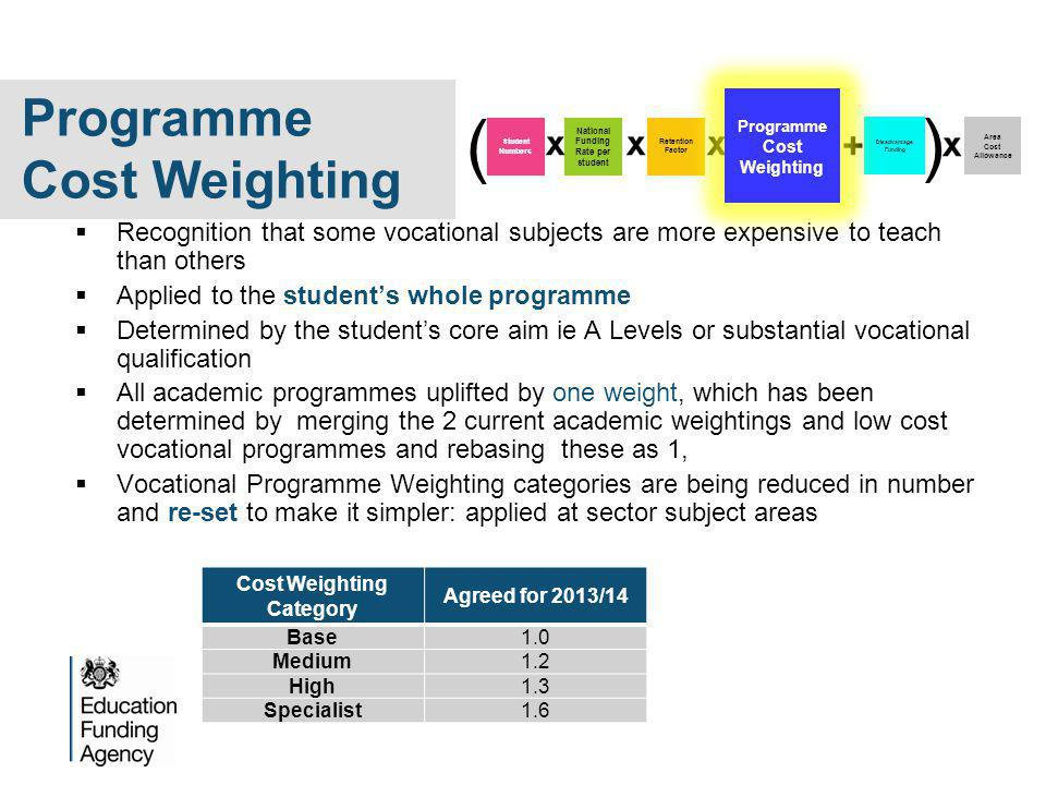  Recognition that some vocational subjects are more expensive to teach than others  Applied to the student's whole programme  Determined by the student's core aim ie A Levels or substantial vocational qualification  All academic programmes uplifted by one weight, which has been determined by merging the 2 current academic weightings and low cost vocational programmes and rebasing these as 1,  Vocational Programme Weighting categories are being reduced in number and re-set to make it simpler: applied at sector subject areas Cost Weighting Category Agreed for 2013/14 Base1.0 Medium1.2 High1.3 Specialist1.6 Disadvantage Funding Area Cost Allowance Student Numbers National Funding Rate per student Retention Factor ( ) Programme Cost Weighting