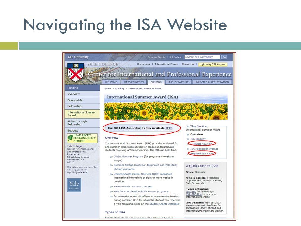 Navigating the ISA Website