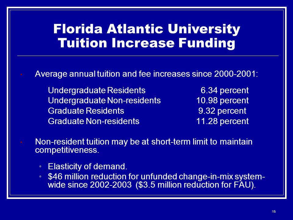 15 Florida Atlantic University Tuition Increase Funding Average annual tuition and fee increases since : Undergraduate Residents 6.34 percent Undergraduate Non-residents10.98 percent Graduate Residents 9.32 percent Graduate Non-residents11.28 percent Non-resident tuition may be at short-term limit to maintain competitiveness.