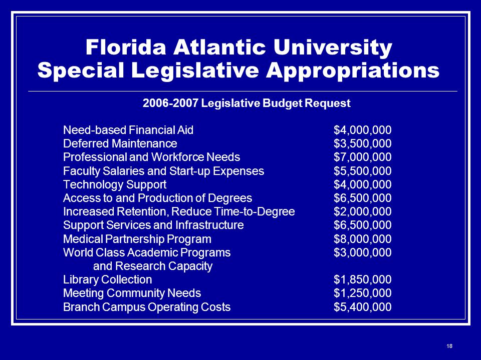 18 Florida Atlantic University Special Legislative Appropriations 2006-2007 Legislative Budget Request Need-based Financial Aid$4,000,000 Deferred Maintenance$3,500,000 Professional and Workforce Needs$7,000,000 Faculty Salaries and Start-up Expenses$5,500,000 Technology Support$4,000,000 Access to and Production of Degrees$6,500,000 Increased Retention, Reduce Time-to-Degree$2,000,000 Support Services and Infrastructure$6,500,000 Medical Partnership Program$8,000,000 World Class Academic Programs$3,000,000 and Research Capacity Library Collection$1,850,000 Meeting Community Needs$1,250,000 Branch Campus Operating Costs$5,400,000