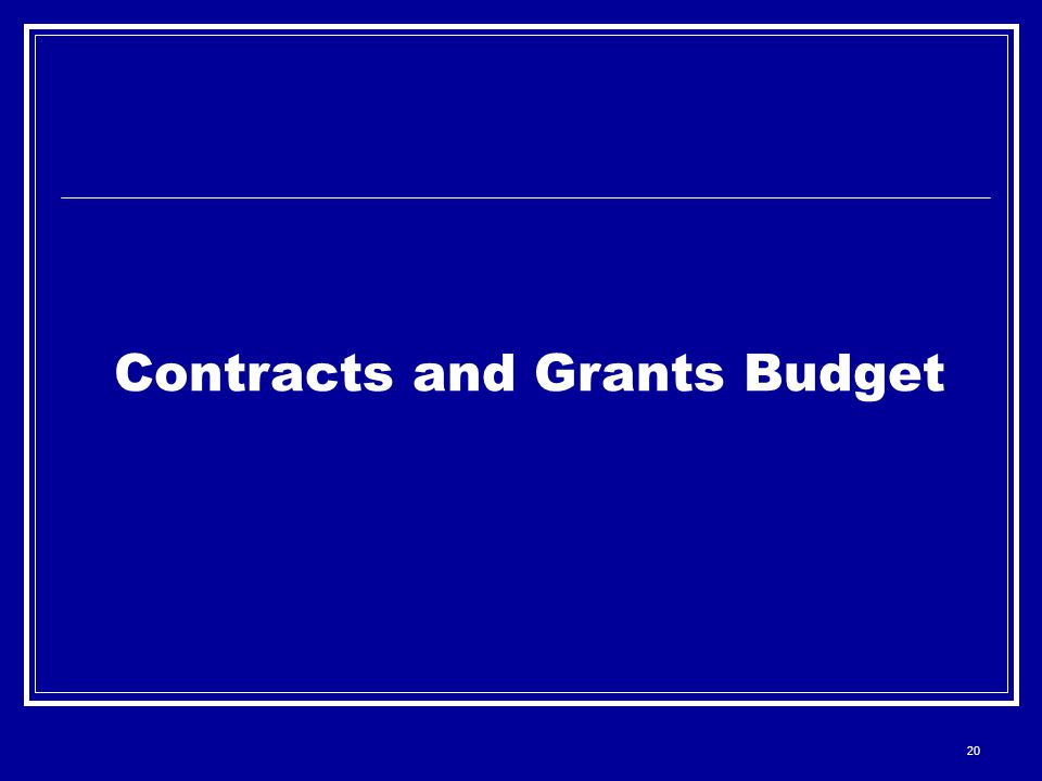 20 Contracts and Grants Budget