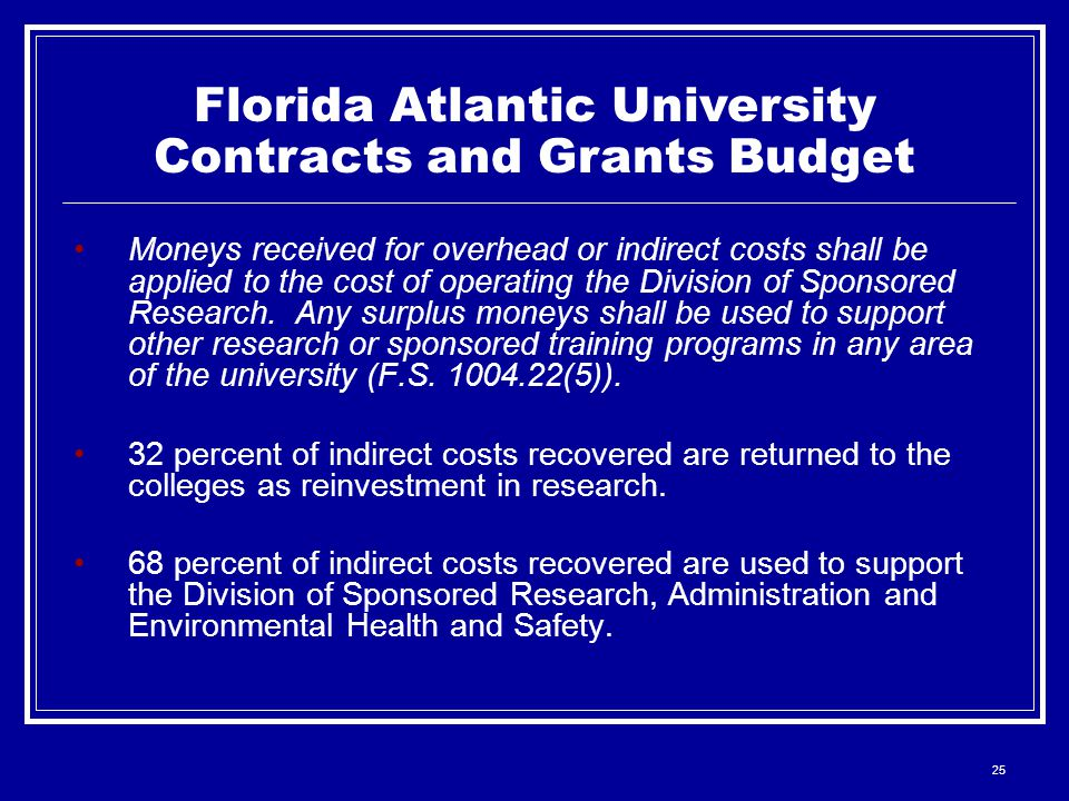 25 Moneys received for overhead or indirect costs shall be applied to the cost of operating the Division of Sponsored Research.