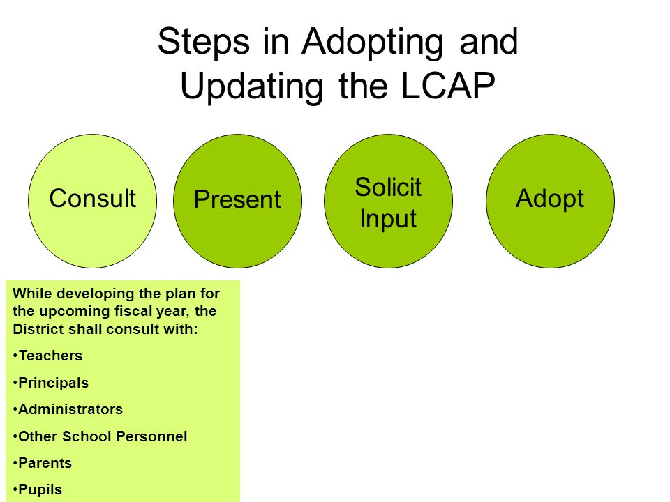 Steps in Adopting and Updating the LCAP Consult Present Solicit Input Adopt While developing the plan for the upcoming fiscal year, the District shall consult with: Teachers Principals Administrators Other School Personnel Parents Pupils