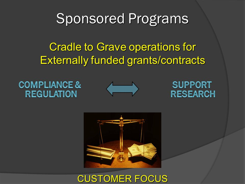 Sponsored Programs Cradle to Grave operations for Externally funded grants/contracts CUSTOMER FOCUS
