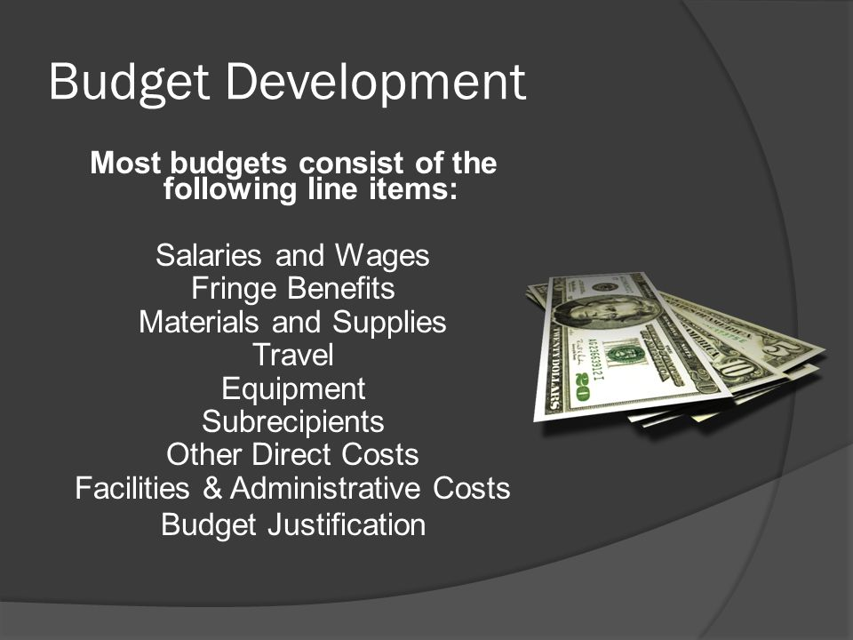 Budget Development Most budgets consist of the following line items: Salaries and Wages Fringe Benefits Materials and Supplies Travel Equipment Subrecipients Other Direct Costs Facilities & Administrative Costs Budget Justification