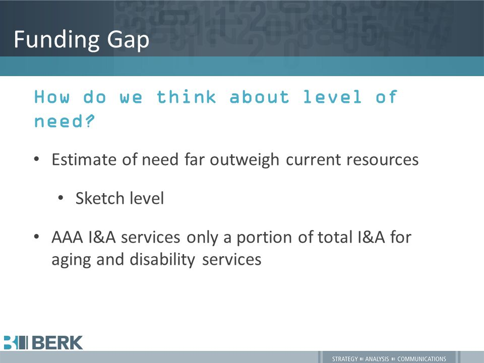 Funding Gap How do we think about level of need.
