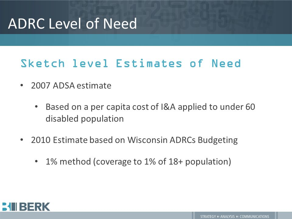 ADRC Level of Need Sketch level Estimates of Need 2007 ADSA estimate Based on a per capita cost of I&A applied to under 60 disabled population 2010 Estimate based on Wisconsin ADRCs Budgeting 1% method (coverage to 1% of 18+ population)