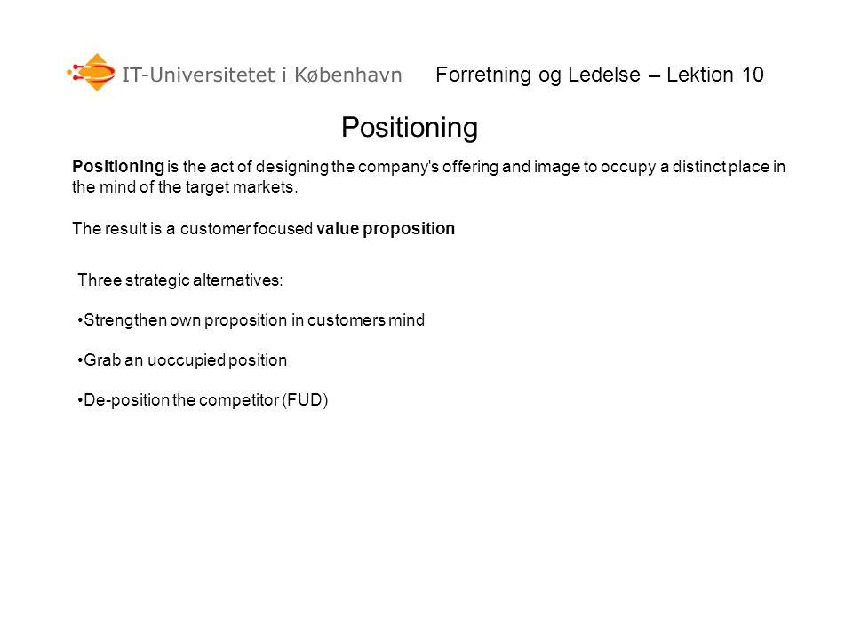 Positioning Forretning og Ledelse – Lektion 10