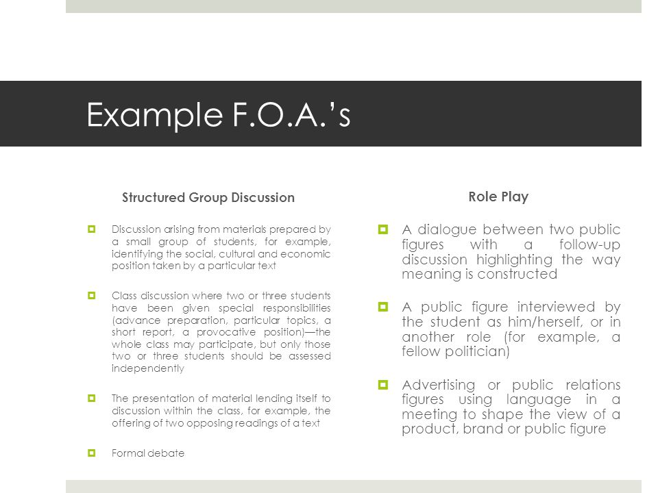 Example F.O.A.'s Structured Group Discussion  Discussion arising from materials prepared by a small group of students, for example, identifying the s