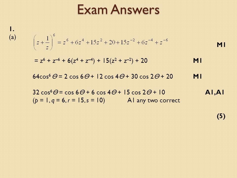 Exam Answers 1.