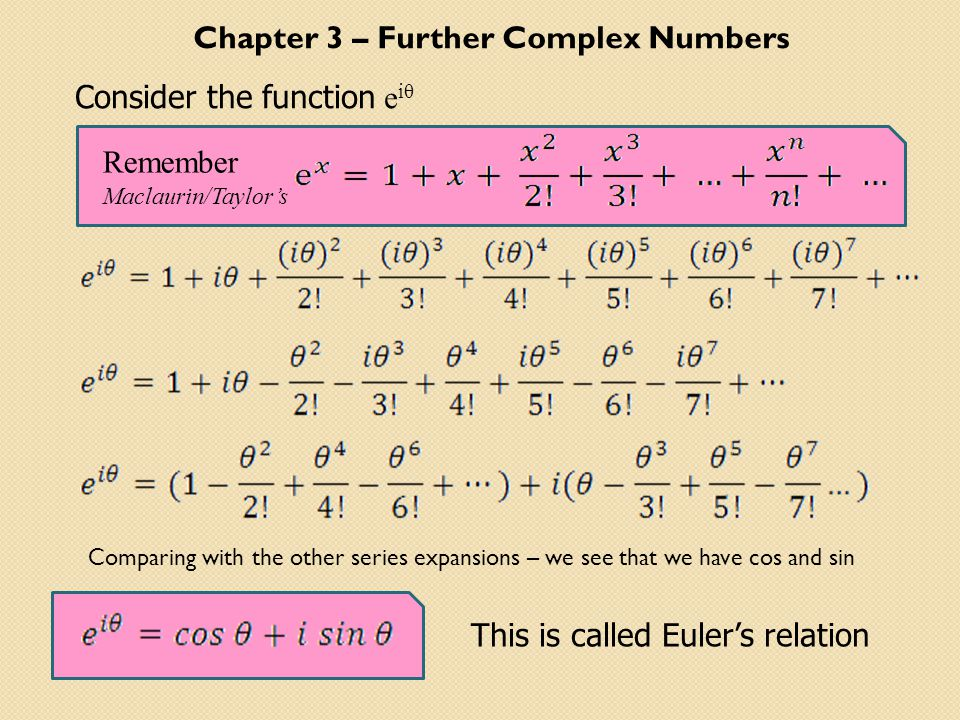 Chapter 3 – Further Complex Numbers Consider the function e iθ Remember Maclaurin/Taylor's This is called Euler's relation Comparing with the other series expansions – we see that we have cos and sin