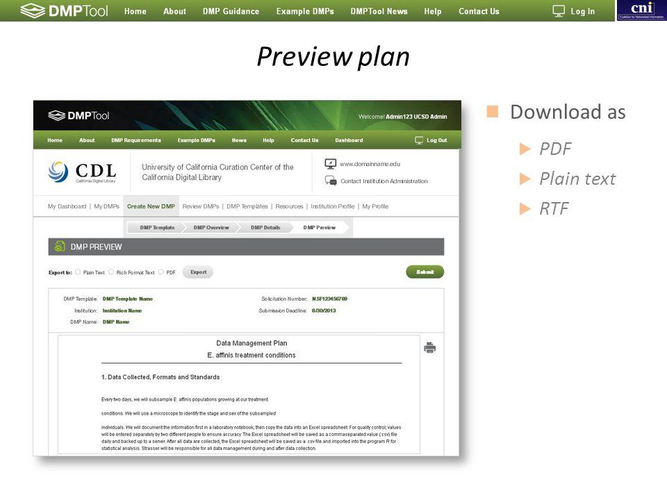 Preview plan Download as  PDF  Plain text  RTF