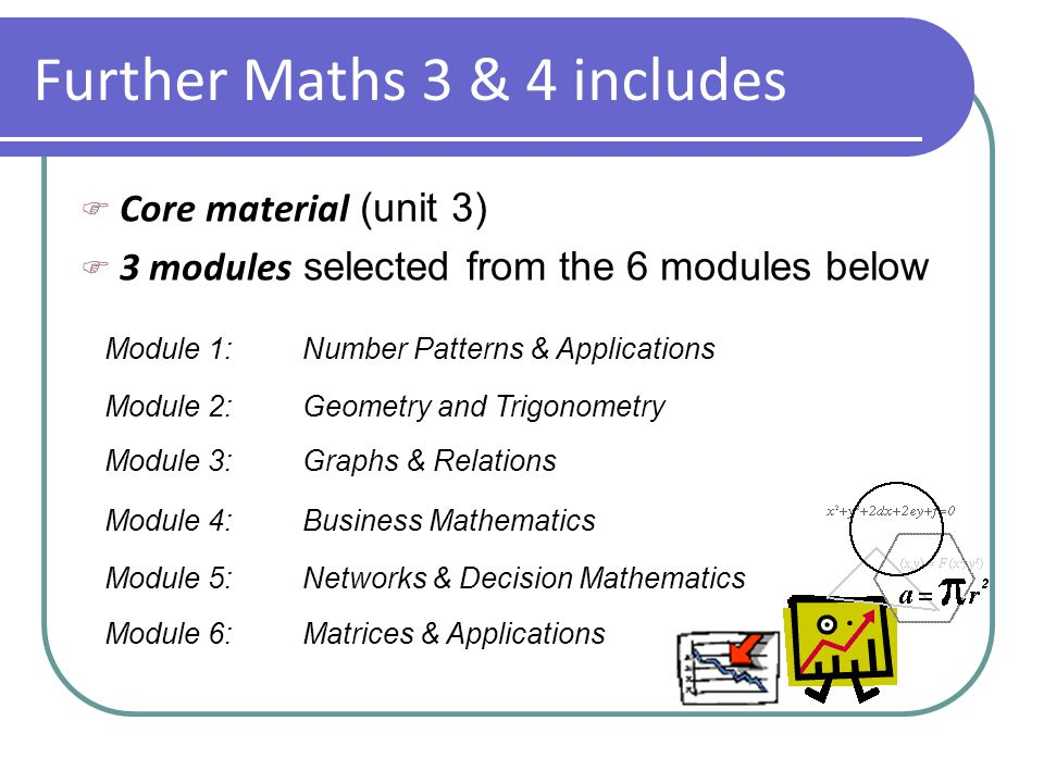 Further Maths 3 & 4 includes  Core material (unit 3)  3 modules selected from the 6 modules below Module 1:Number Patterns & Applications Module 2:Geometry and Trigonometry Module 3:Graphs & Relations Module 4:Business Mathematics Module 5:Networks & Decision Mathematics Module 6:Matrices & Applications