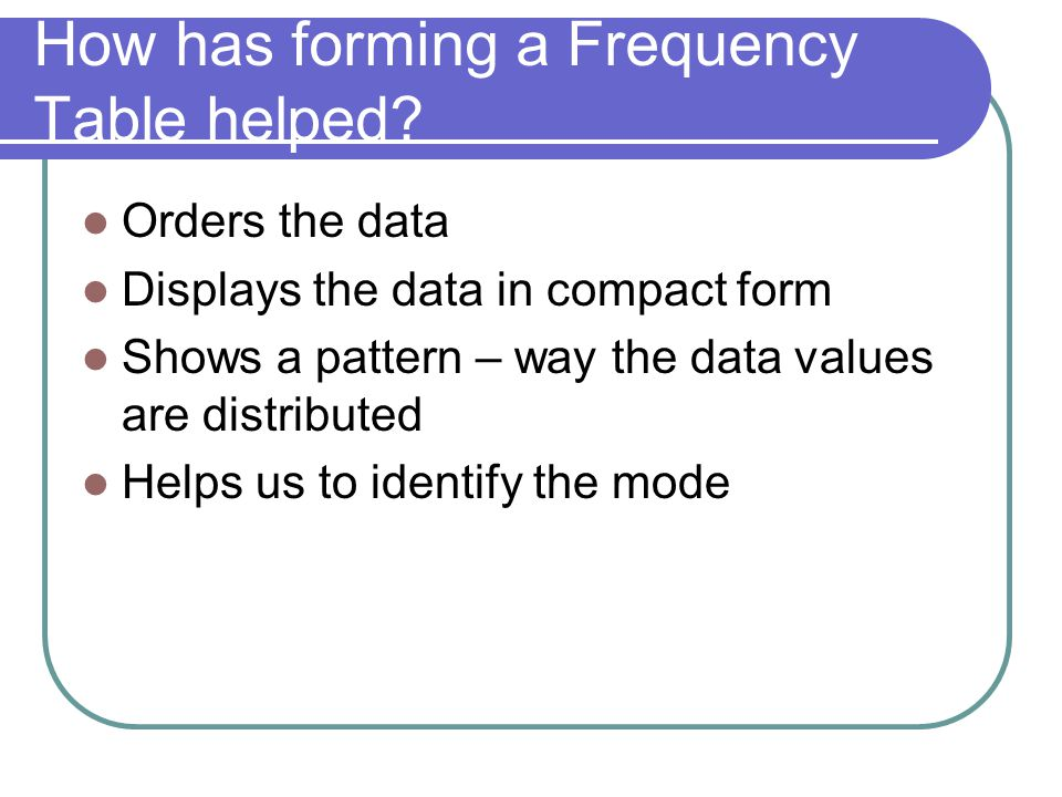 How has forming a Frequency Table helped.