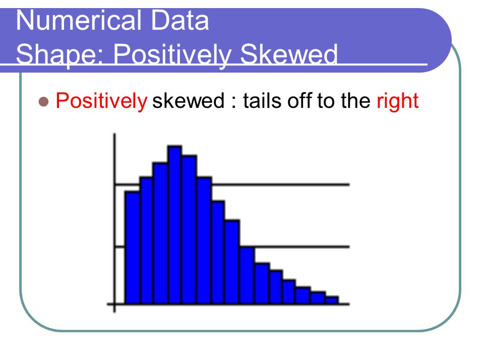 Numerical Data Shape: Positively Skewed Positively skewed : tails off to the right
