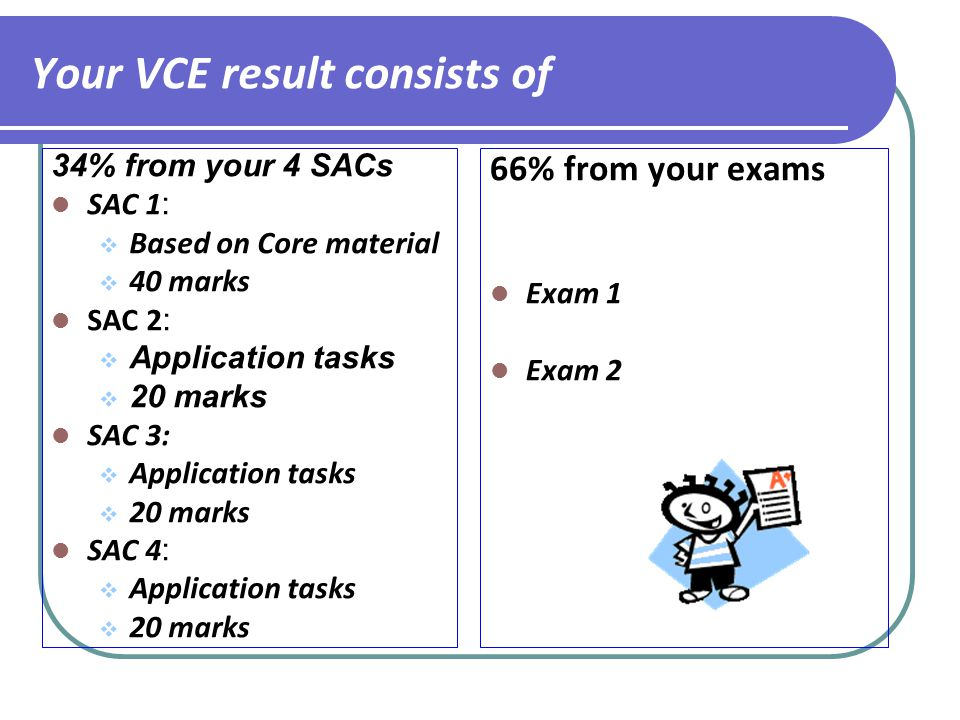 Your VCE result consists of 34% from your 4 SACs SAC 1 :  Based on Core material  40 marks SAC 2 :  Application tasks  20 marks SAC 3:  Application tasks  20 marks SAC 4 :  Application tasks  20 marks 66% from your exams Exam 1 Exam 2