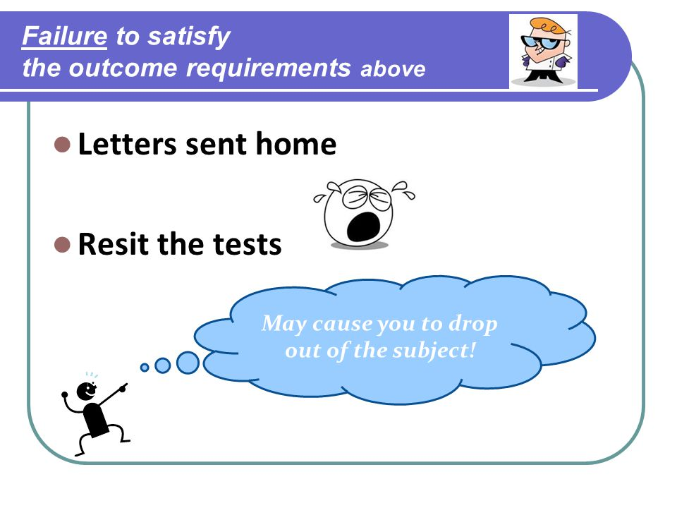 Failure to satisfy the outcome requirements above Letters sent home Resit the tests May cause you to drop out of the subject!
