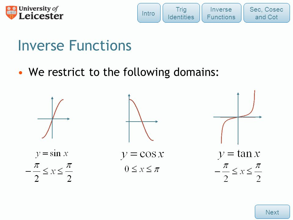 Inverse Functions We restrict to the following domains: Next Sec, Cosec and Cot Intro Inverse Functions Trig Identities