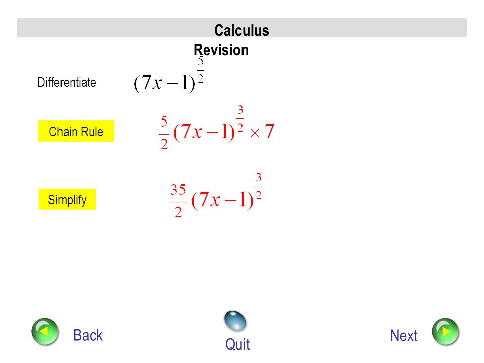 Calculus Revision Back Next Quit Differentiate Chain Rule