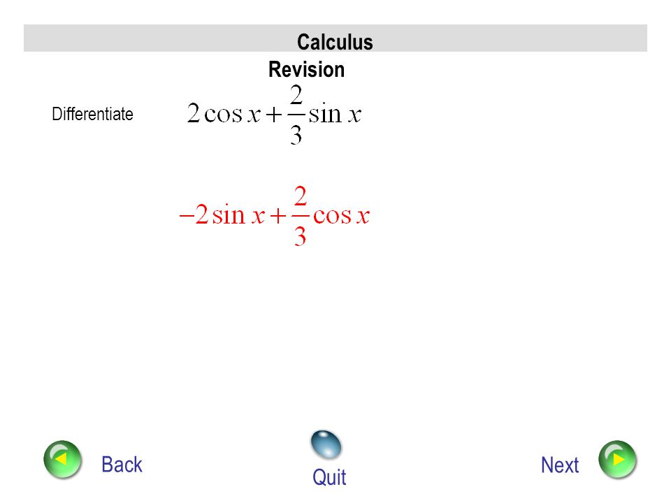 www.mathsrevision.com Higher Outcome 2 Example The Chain Rule for Differentiating Trig Functions