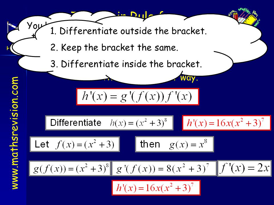 www.mathsrevision.com Higher Outcome 2 The Chain Rule for Differentiating To differentiate composite functions (such as functions with brackets in the