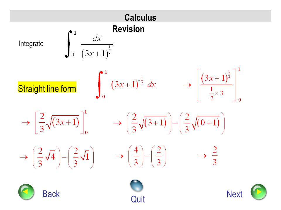 Calculus Revision Back Next Quit Find Use standard Integral (from chain rule)