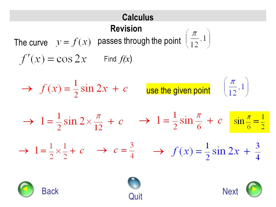Calculus Revision Back Next Quit Find