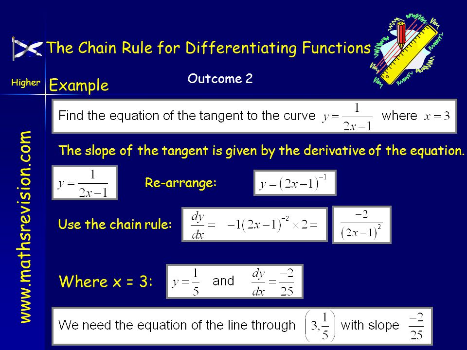 www.mathsrevision.com Higher Outcome 2 Integrating Trig Functions Example Integrate Break up into two easier integrals 1.Integrate outside the bracket 2.Keep the bracket the same 3.Compensate for inside the bracket.