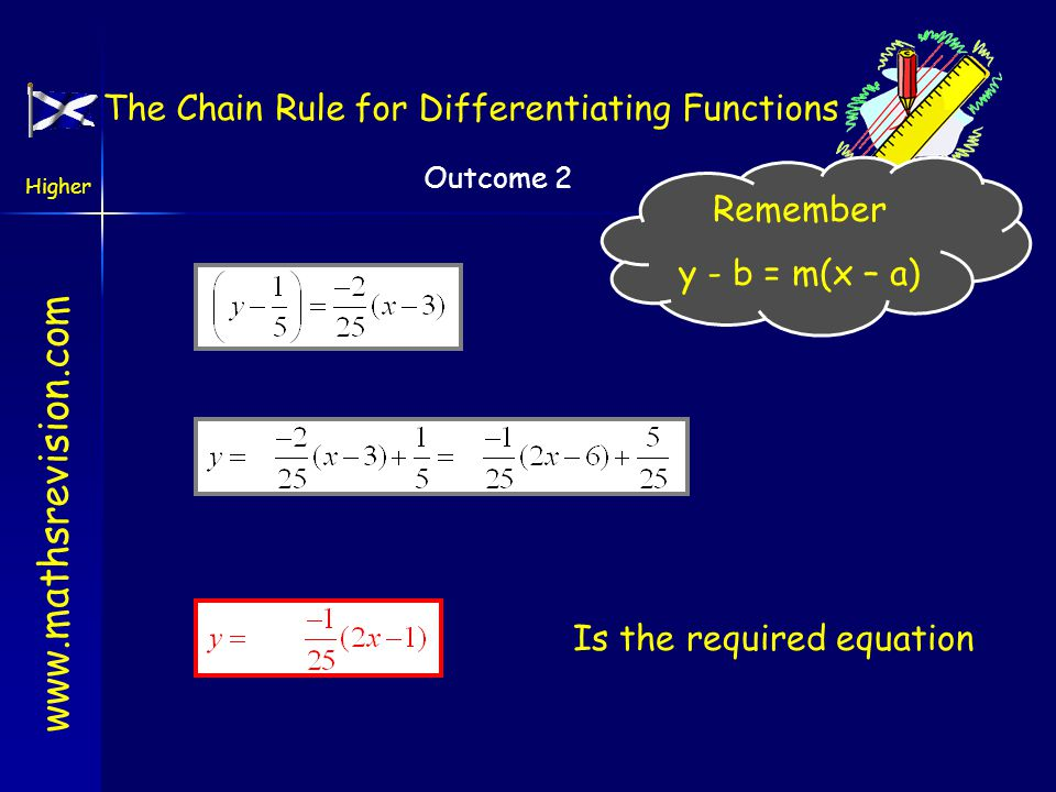 www.mathsrevision.com Higher Outcome 2 Is the required equation Remember y - b = m(x – a) The Chain Rule for Differentiating Functions