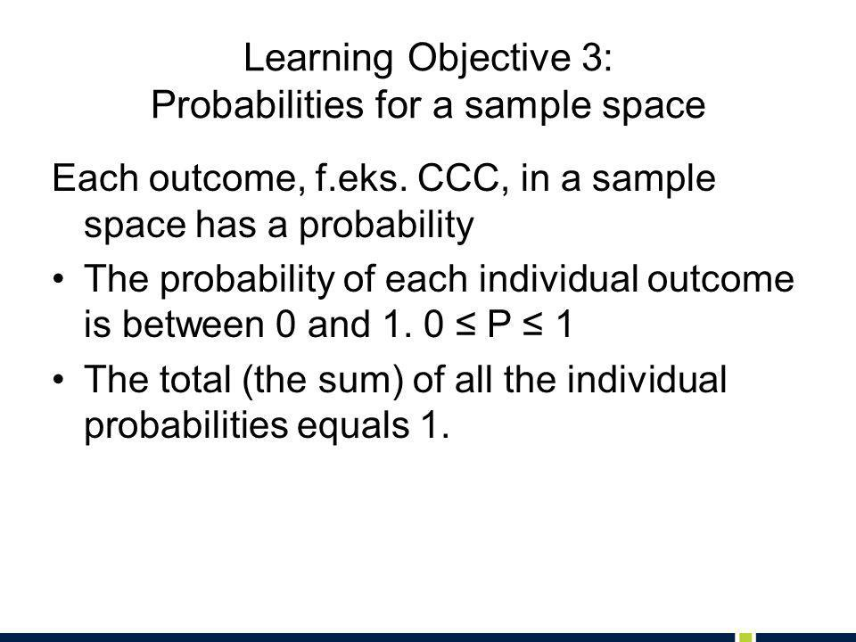 Learning Objective 4: Probability of an Event The Probability of an event A is denoted by P(A).