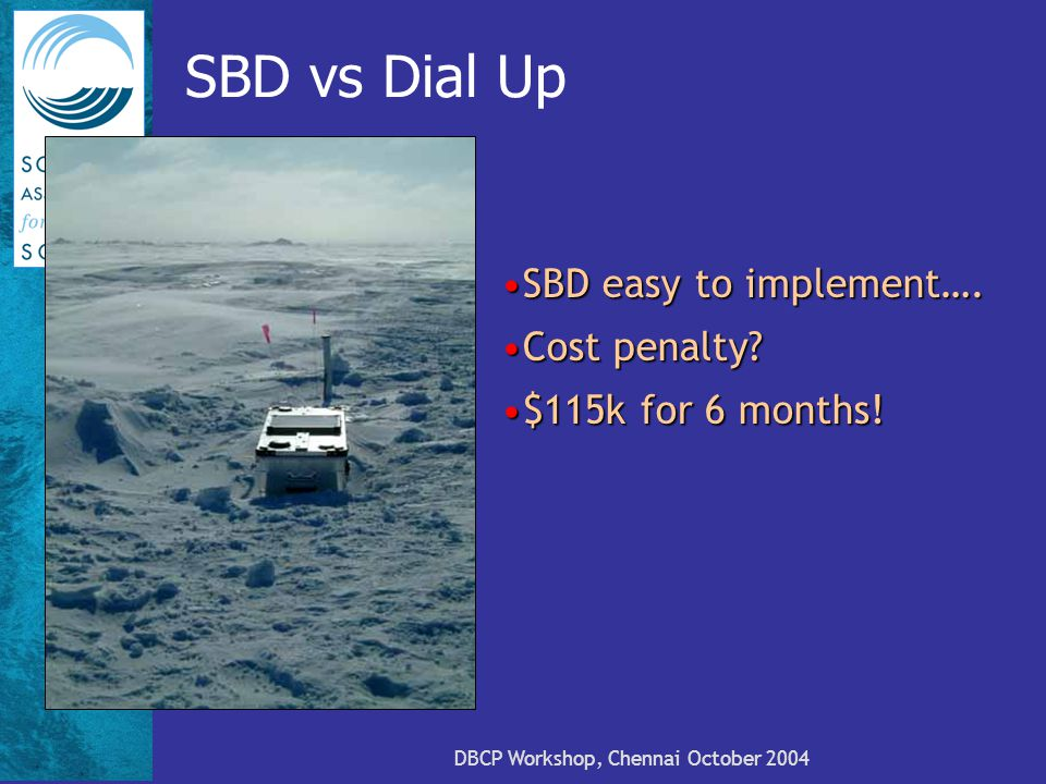 DBCP Workshop, Chennai October 2004 SBD vs Dial Up SBD easy to implement….SBD easy to implement….