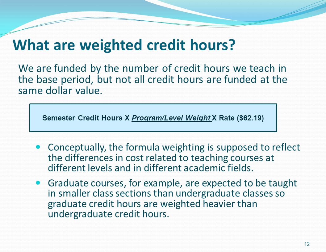 What are weighted credit hours.
