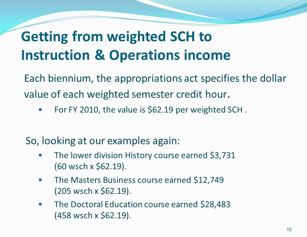 Getting from weighted SCH to Instruction & Operations income Each biennium, the appropriations act specifies the dollar value of each weighted semester credit hour.