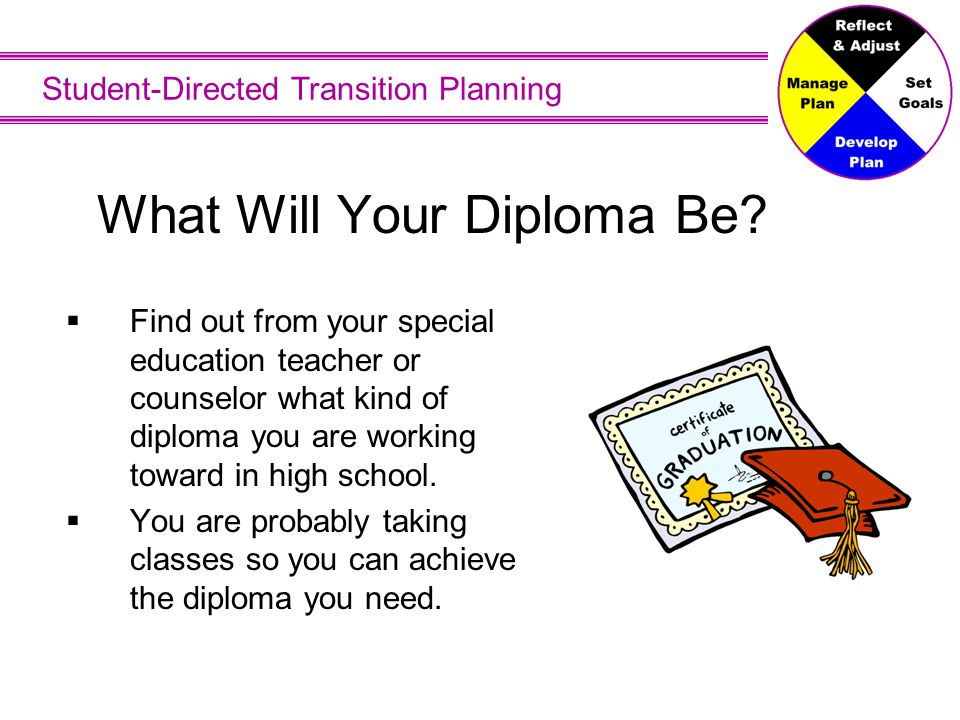 Student-Directed Transition Planning What Will Your Diploma Be?  Find out from your special education teacher or counselor what kind of diploma you a