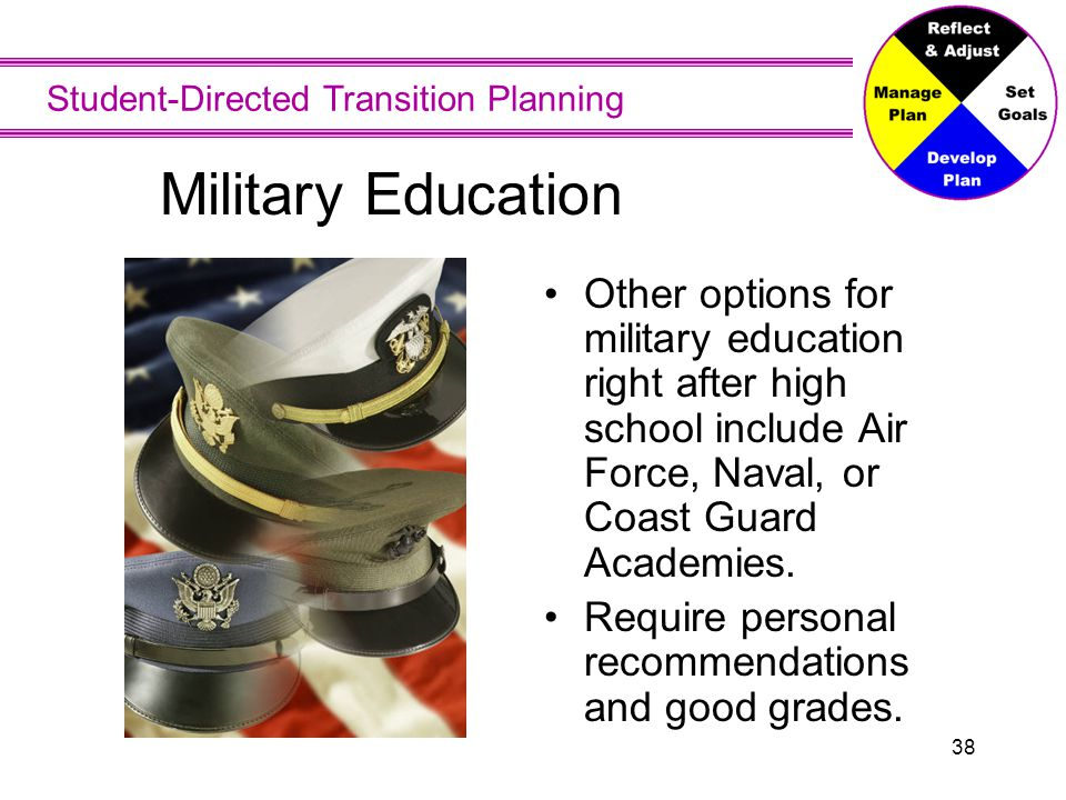 Student-Directed Transition Planning 38 Military Education Other options for military education right after high school include Air Force, Naval, or C