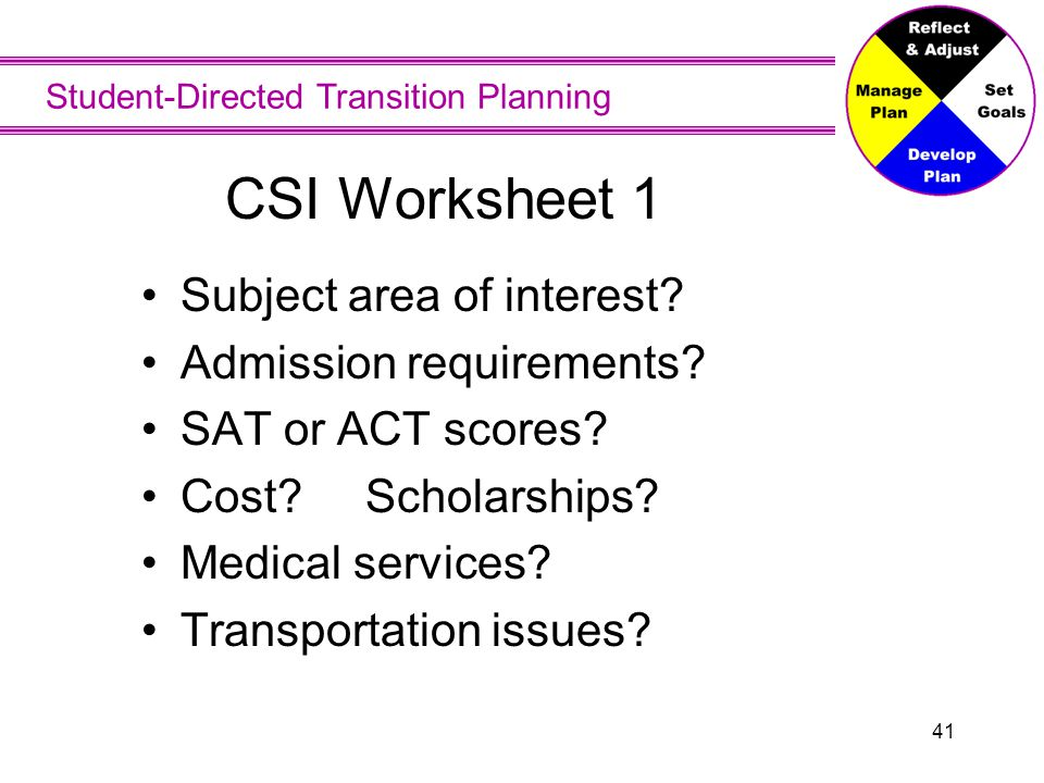 Student-Directed Transition Planning 41 CSI Worksheet 1 Subject area of interest? Admission requirements? SAT or ACT scores? Cost? Scholarships? Medic