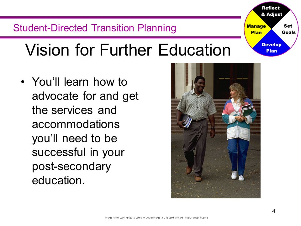 Student-Directed Transition Planning 4 Vision for Further Education You'll learn how to advocate for and get the services and accommodations you'll ne