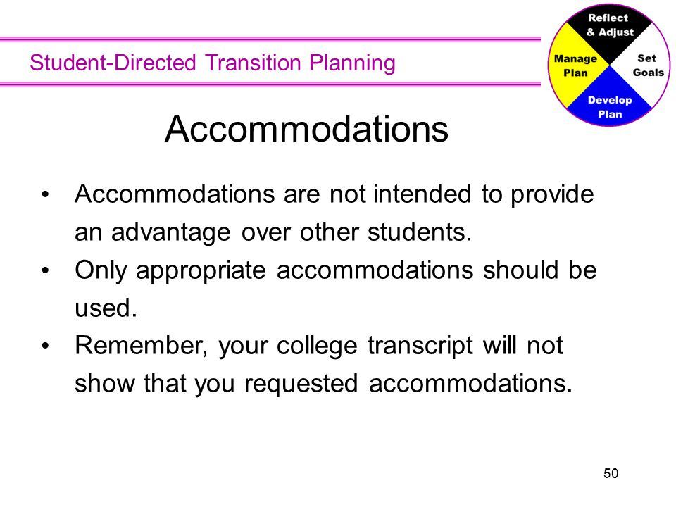 Student-Directed Transition Planning 50 Accommodations are not intended to provide an advantage over other students. Only appropriate accommodations s