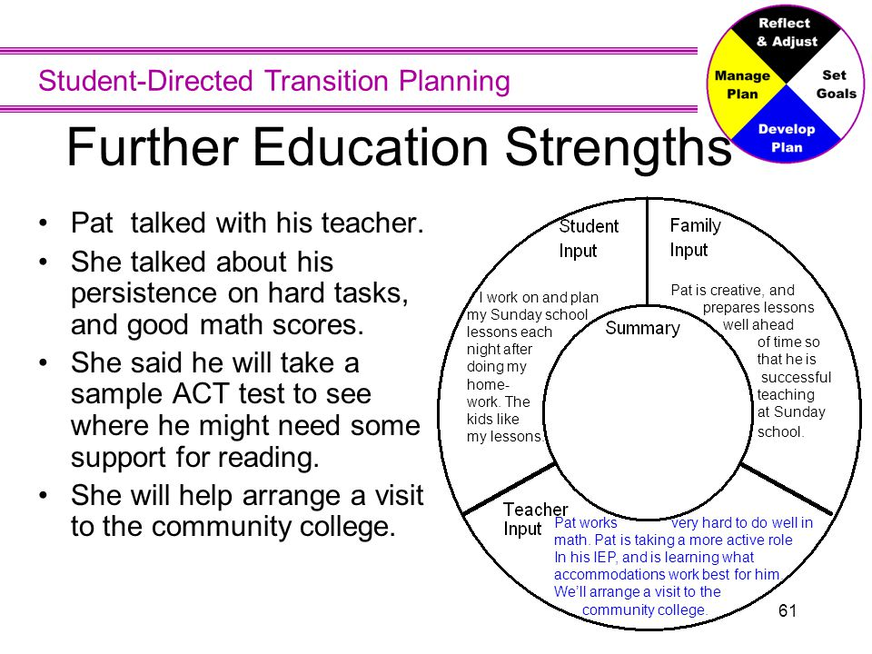 Student-Directed Transition Planning 61 Further Education Strengths Pat talked with his teacher. She talked about his persistence on hard tasks, and g