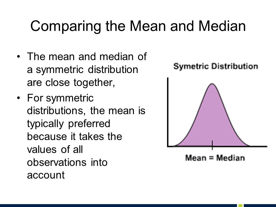 Comparing the Mean and Median The mean and median of a symmetric distribution are close together, For symmetric distributions, the mean is typically p
