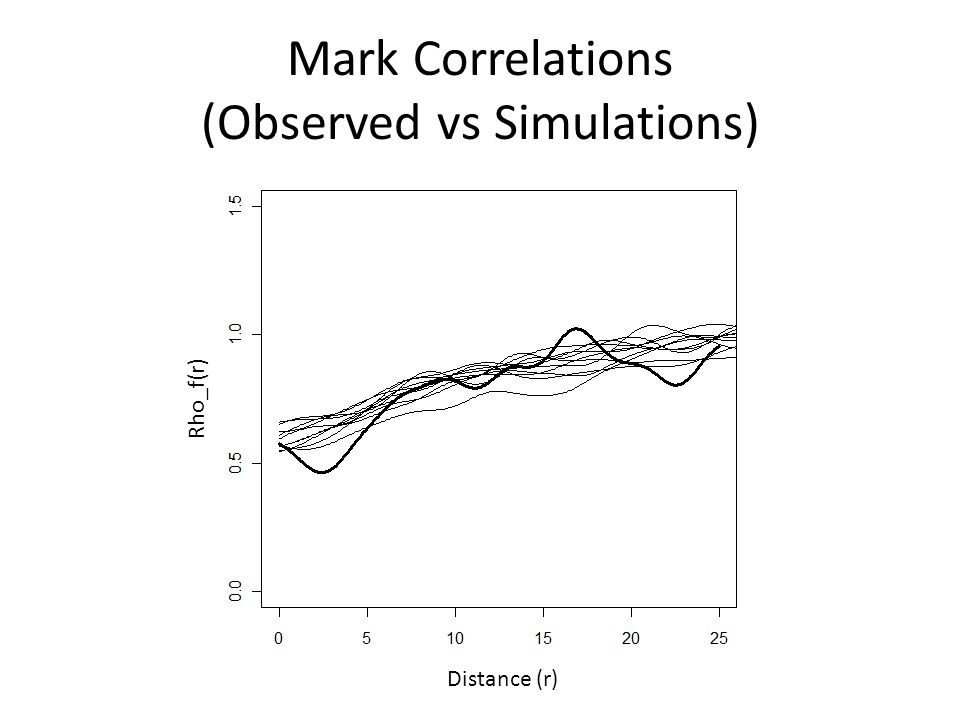 Mark Correlations (Observed vs Simulations) Distance (r) Rho_f(r)