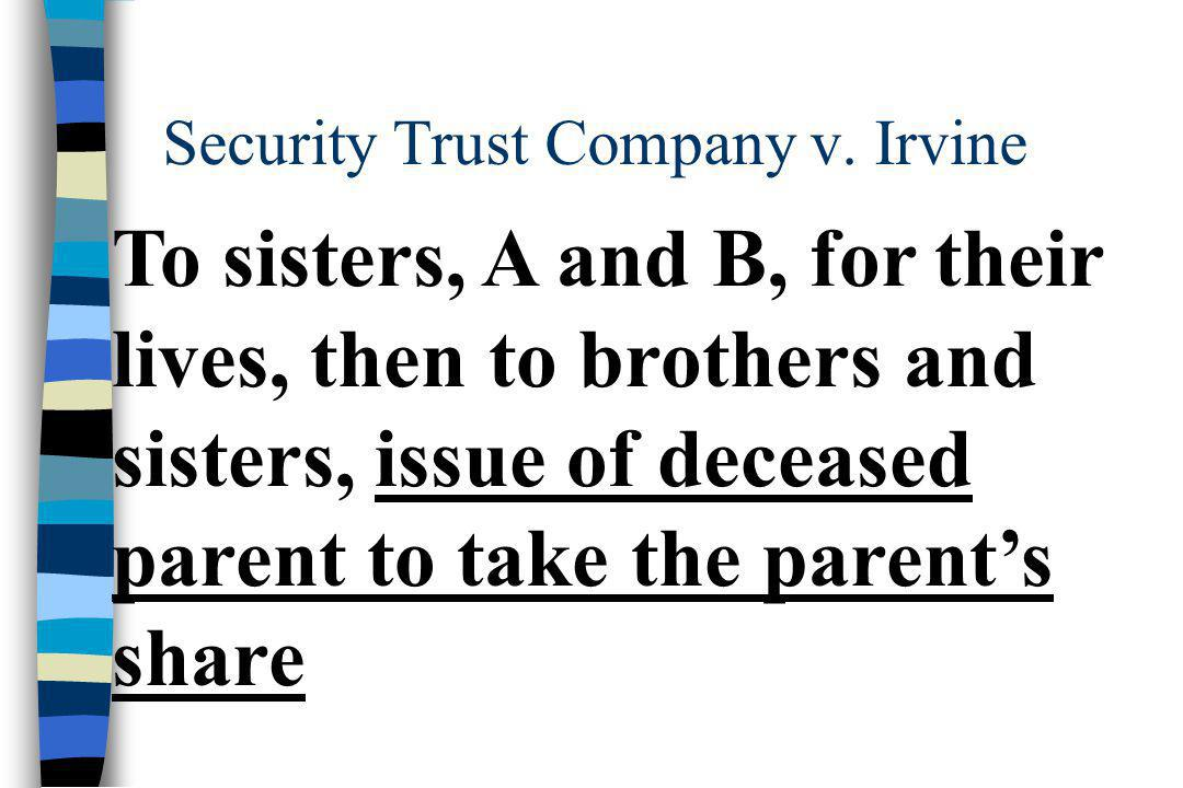 To sisters, A and B, for their lives, then to brothers and sisters, issue of deceased parent to take the parent's share